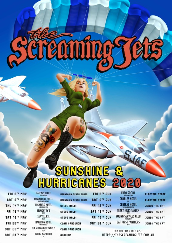 Screaming Jets Sunshine & Hurricanes 2020 Tour Artwork